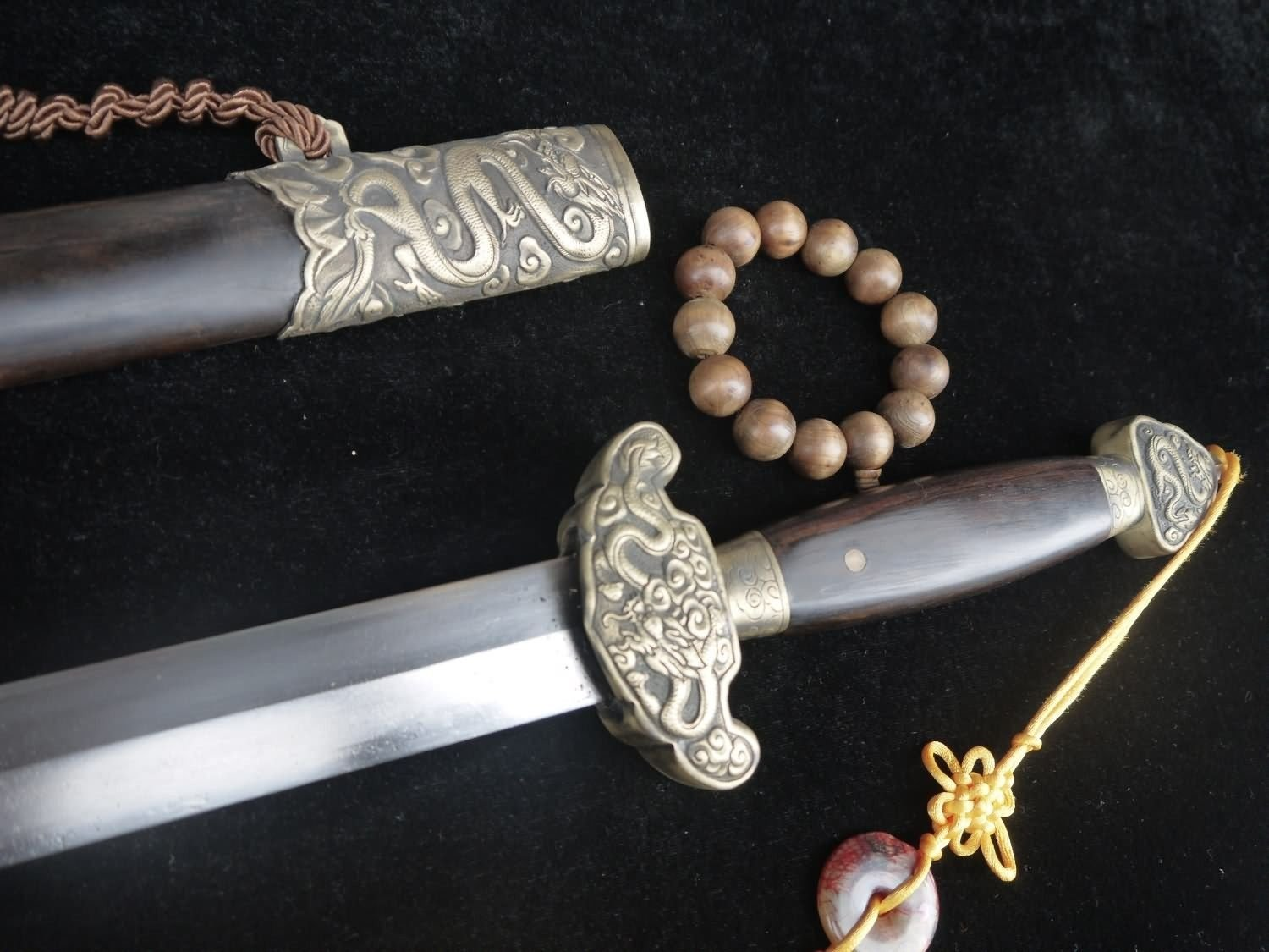Longquan sword/Chinese sword sale/FULL TANG/Damascus Steel/Handmade/Brass dragon grain fitting/Length 39 мечи longquan sword