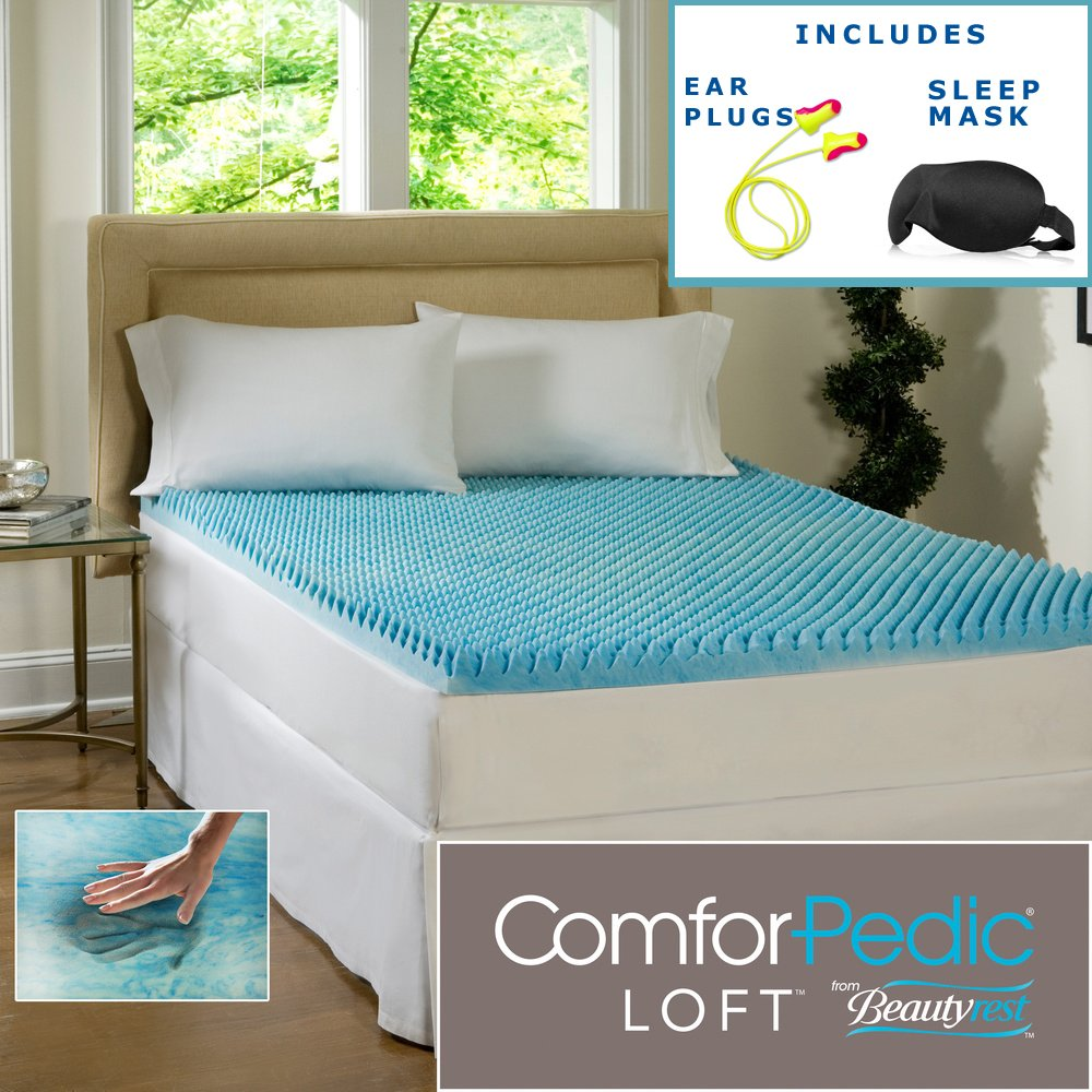 Beautyrest 3-inch Sculpted Gel Memory Foam Mattress Topper – (Queen) – High Quality Sleep Mask & Comfortable Pair of Corded Earplugs Included