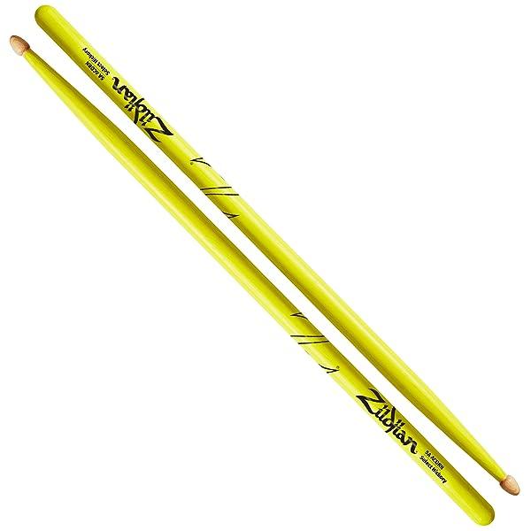 Zildjian 5A Acorn Neon Yellow Drumsticks (Color: Neon Yellow)
