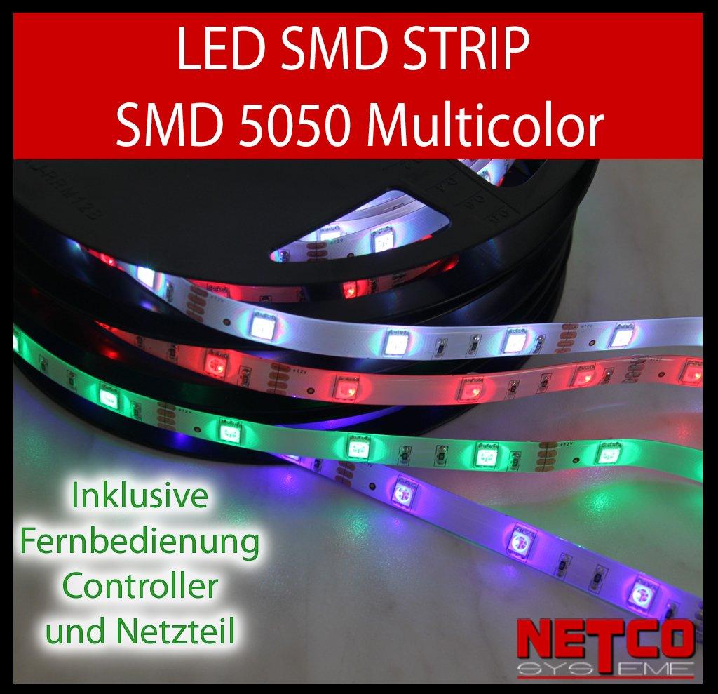 KOMPLETT SET 20m (4x 5m) LED RGB mehrfarbig Strip / Leiste /Streifen /Stripes wasserfest mit Netzteil + Controller + Fernbedienung  BeleuchtungKritiken und weitere Infos