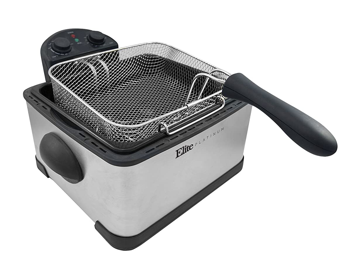 Elite Platinum EDF-401T Maxi-Matic 1700-Watt Stainless-Steel Triple Basket Electric Deep Fryer with Timer and Free Odor Filter, 4.2L/17-Cup