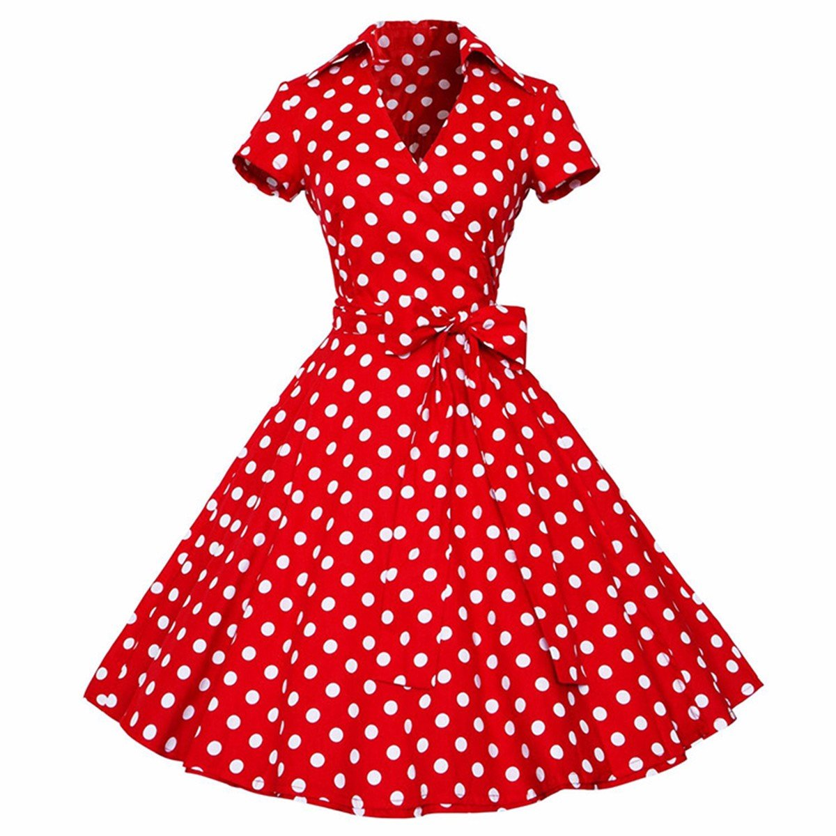 Samtree Womens 50s Style Polka Dot Short Sleeves Rockabilly Vintage Tea Dress 0