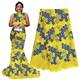 pqdaysun 5 Yards African Net Lace Fabrics Nigerian French Fabric Embroidery and Rhinestones Guipure Cord Lace (yellow) (Color: Yellow, Tamaño: 51 Inches)