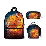 Bigcardesigns Basketball Sports Backpack School Bag with Lunchbag Pen Bag for Teenager Boys Girls Book Bag (Color: Basketball- 3 pcs/set, Tamaño: Medium)