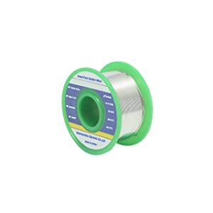 Ultra-thin Solder Wire Lead Free 0.01in (0.3mm) Rosin Core Flux 2.5% Sn99 Ag0.3 Cu0.7 Flow 0.22lb. for High Precision Electronics Soldering (Tamaño: 0.01in-0.22lb)