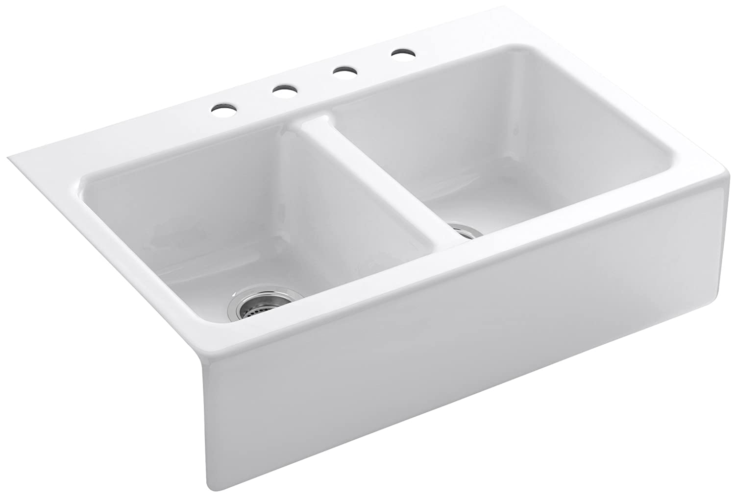 ... sink with the beauty of an apron sink. Four installation holes
