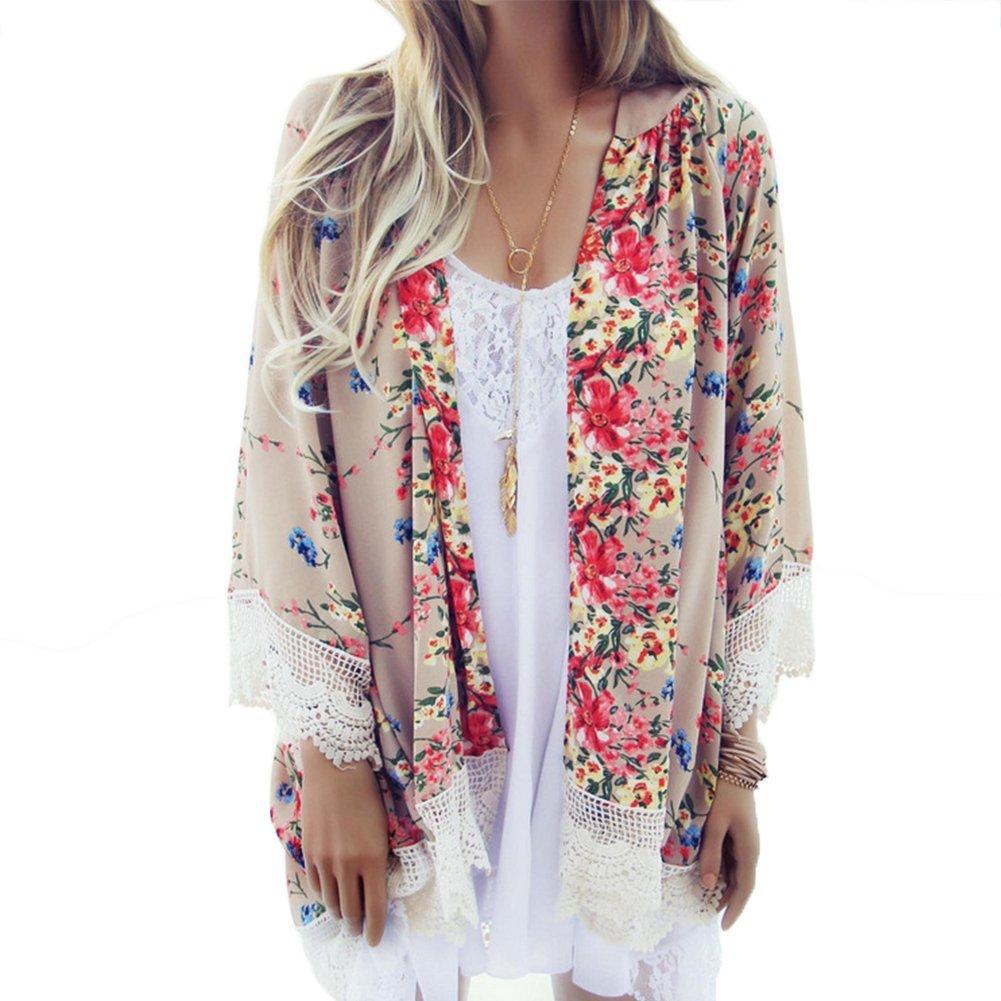 Froomer Women Vintage Floral Boho Shawl Kimono Cardigan Loose Chiffon Blouse 2