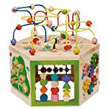 EverEarth Garden Activity Cube. Wood Shape & Color Sorter, Bead Maze & Counting Baby Toy (Color: Multicolour)