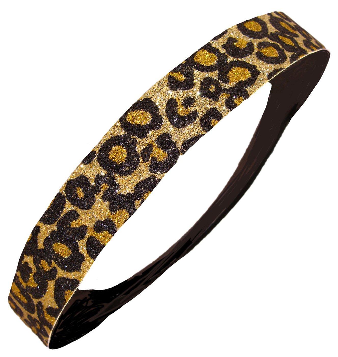 Gold And Black Cheetah Stripes Glittering Gold Elastic Stretchable Fashion Headband