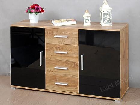 Labi Möbel KR1 cómoda COSMO estructura y cajones: NOCE Colón puertas colores: negro 160 cm