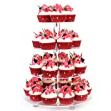YestBuy 4 Tier Clear Wedding Party Acrylic Cupcake Display Tree Tower Stand 1 Unit (4 Tier Round with BASE) (Color: Clear, Tamaño: 4 Tier Round with BASE)