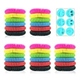 Sumpol Mosquito Repellent Bracelets 30 Pack, DEET-Free & Non-Toxic Waterproof Wristbands, Pest Bug Control Bands for Kids and Adults Outdoor Camping Fishing Hiking Traveling (Color: rose red,red,blue,black,green,yellow, Tamaño: set 776)