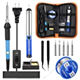 Soldering Iron Kit?2020NEW? Ksvzs, 60W/110V Adjustable Temperature(220-450°) with ON/OFF Switch?12-in-1?Soldering Kits for Beginners,DIY, PU Bag (Color: Orange+Blue+Black)