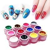 12 Colors Nail Painting Gel Polish, Saviland Soak Off UV LED Sculpture Gel DIY Varnish Manicure Nail Art Decoration 8g (Color: Set1-12 colors)
