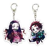 EBTY-Dreams Inc. - Set of 2 Demon Slayer Kimetsu no Yaiba Anime Acrylic Keychain Nezuko Kamado, Tanjirou v2 (Color: Multicolor, Tamaño: Pendant Height: 2 inches)