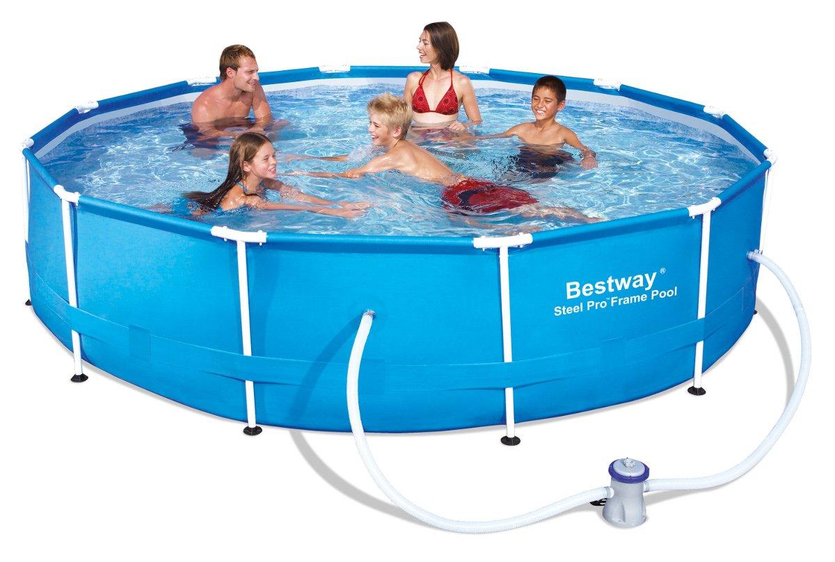 Pool-Set mit Außenschwimmbecken und Pumpe, Stahlrahmen, frei stehend, Ø 366 x 76 cm bestellen