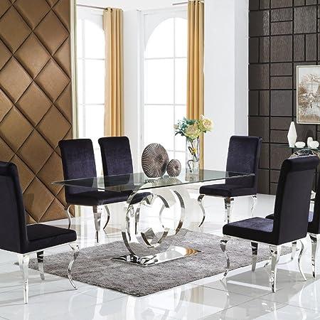 CC mobili tavolo da pranzo in vetro con base cromata