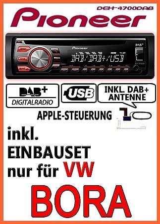 VW Bora - Pioneer DEH-4700DAB - DAB CD USB Autoradio inkl. DAB Antenne - Einbauset