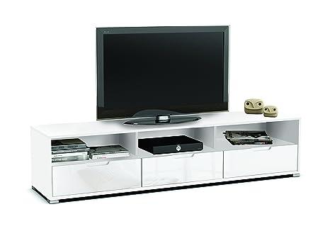 Mesa de TV módulo bajo color blanco con tres cajones y 3 compartimentos de salón comedor. 180cm largo x 42cm ancho x 41cm altura.