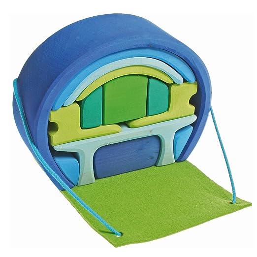 Maison mobile pour mini poupées bleu vert