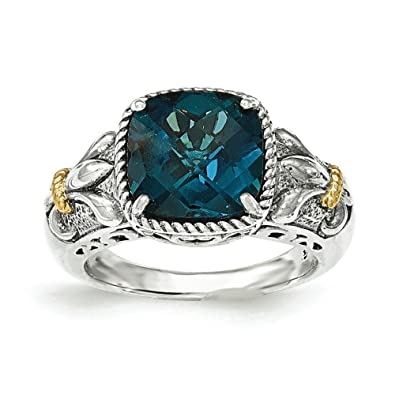 Sterling Silver With 14ct London Blue Topaz Ring - Ring Size Options Range: L to P