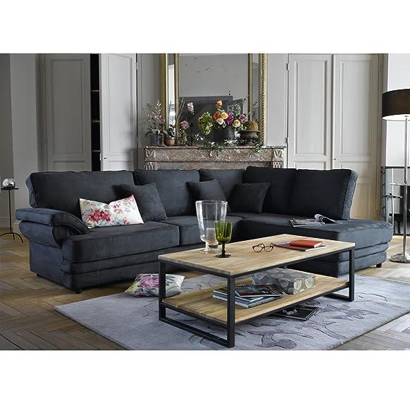 Legno Dekor Simplistic ferro incorniciato tavolino, mango naturale & nero, 115x 60x 40cms