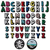 Alphabet Letter Patches Colorful English Letters UFO Alien Patch Embroidered Iron on Patch Appliques Badge Decorative Repair Patches DIY Sew on Patches for Jackets Hat Jeans Bag (52pacs+ 2 Pieces) (Color: color1)