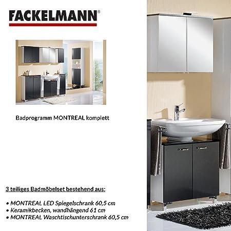 Fackelmann MONTREAL 3-Piece Bathroom Furniture Set Washbasin / Sink / Spiegel