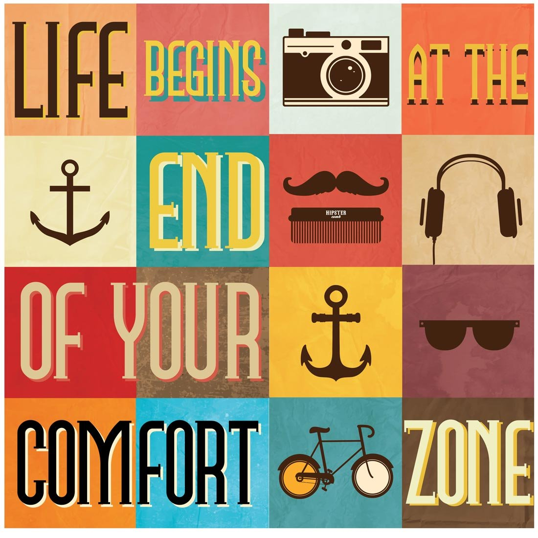 Posters for bedroom doors - Seven Rays Life Begins At The End Of Your Comfort Zone Medium Poster
