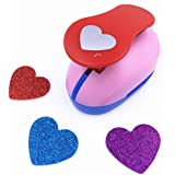 TECH-P Creative Life Large 2- Inch Multi-pattern Hand Press Paper Craft Punch For Making Colorful Paper Garland Hearts Hanging Decoration Arts Crafts Cards DIY Scrapbooking Engraving -Heart (Color: Heart)