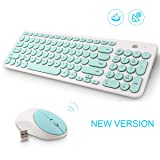 Wireless Keyboard and Mouse Combo, FD iK6630 2.4GHz Cordless Cute Round Key Set Smart Power-saving Whisper-Quiet Slim Combo for Laptop, Computer,TV and Mac (Mint Green & White) (Color: Mint Green & White)