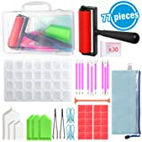 Diamond Painting Tools INFELING 5D Diamond Painting Accessories Cross Stitch Kits with Roller,28 Slots Diamond Embroidery Box Large Storage Case for Adults (77 Pieces) (Color: 77 Pcs)