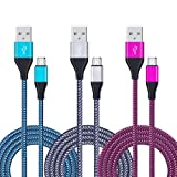USB Cable Android, CIQILY 3-Pack 6ft Long Nylon Braided Micro USB Charging Cable Android Charger Cord for Samsung Galaxy S3/S4/S6 Edge S7, Note 4 5, HTC, LG,Tablet, Xbox One, PS 4 Pro