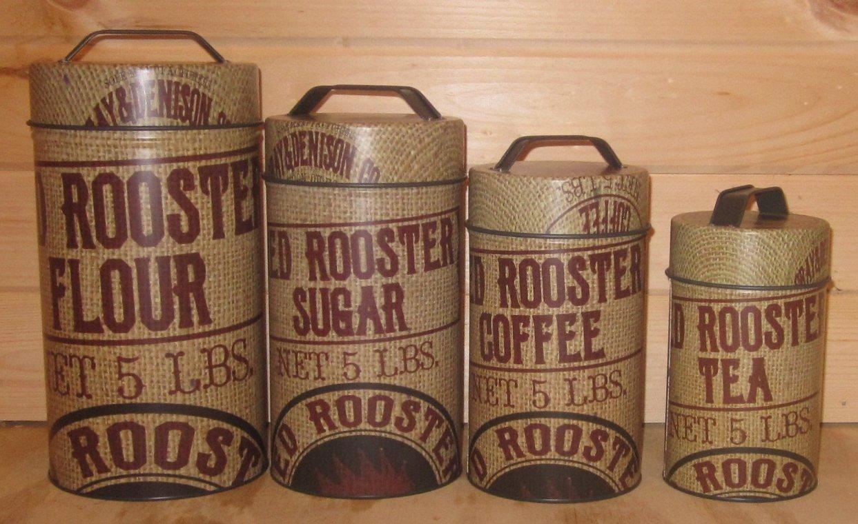 Seed Bag Red Rooster Food Safe Tin Canister Set Vintage Prim Rustic Kitchen Decor 2