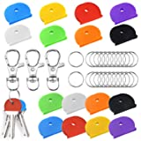 39 Pieces Rainbow Color Key Cap Covers by WXJ13, 16 Pack Plastic Key Identifier Coding Rings with 20 Pack Key Rings and 3 Lobster Claw Clasps, 1 inch (Color: Blue)