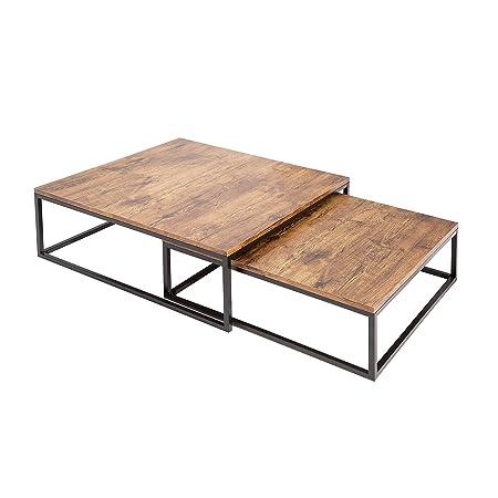 Design Couchtisch 2er Set BIG FUSION vintage look schwarz Satztische Tischset Wohnzimmertische