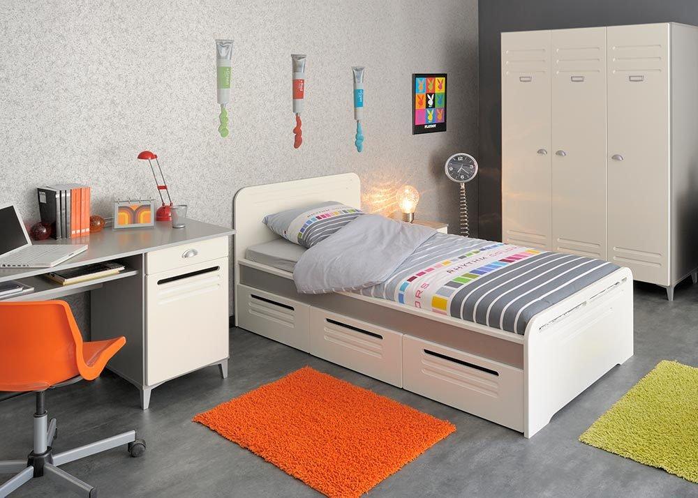 Jumbo-Möbel Kinderzimmer FACTORY 3 in Weiß & Grau / Silber von Parisot, Komplettset günstig kaufen