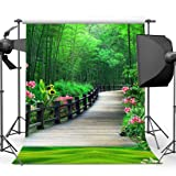 EARVO 5x7ft Spring Bamboo Forest Photography Background Outdoor Party Photo Portrait Cotton Backdrop (Wrinkle Resistance) Studio Photo Props Wall Mural EAGE005 (Color: EAGE005, Tamaño: 5x7ft)
