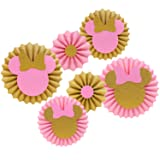 Pink and Gold Glitter Minnie Tissue Paper Fans Backdrop Decoration Girls Birthday Party Favor Set (Color: Multi-colored)