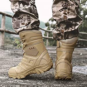 Lloopyting Shoes Outdoor Men's Tactical Boots Lightweight Combat Boots Durable Hiking Boots Military Anti-Skid Desert Boots Beige (Color: Beige, Tamaño: 41)