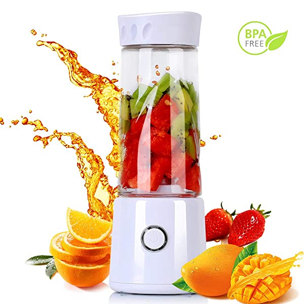 Nueve&Five Small Portable Blender for Shakes and Smoothies, 14oz USB Rechargeable Battery Operated Personal Travel Blender - White