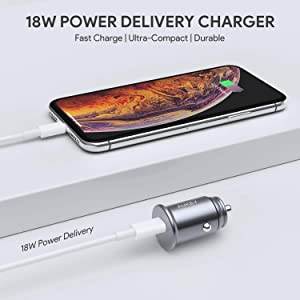 AUKEY USB-C PD Car Charger, 18W Power Delivery & Flush Fit USB Car Charger Compatible with Google Pixel 3 / 2 / XL, iPhone XS / Max / XR / X , Samsung Galaxy S9 and More