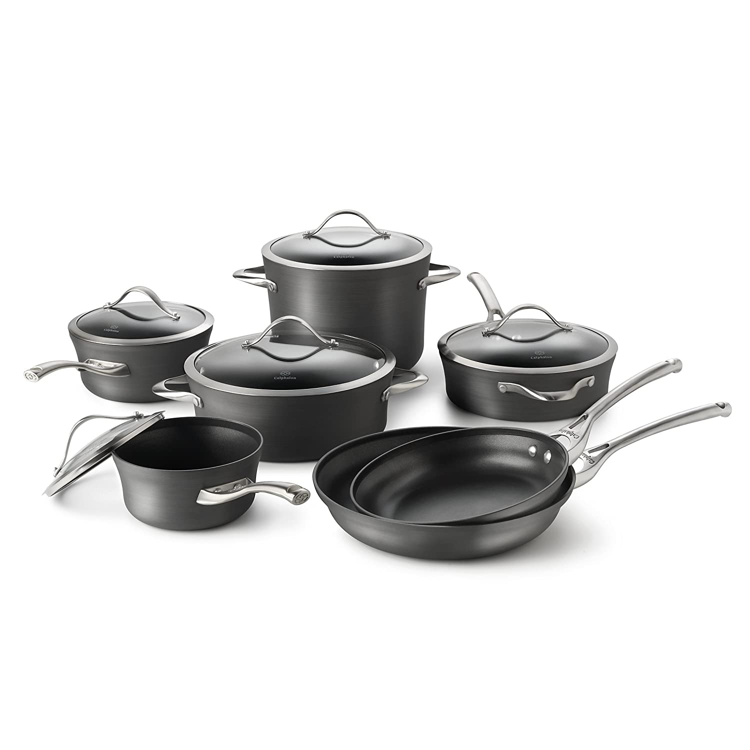 Calphalon Contemporary Hard-Anodized Aluminum Non Stick Cookware Set, 11-pc, Black Via Amazon