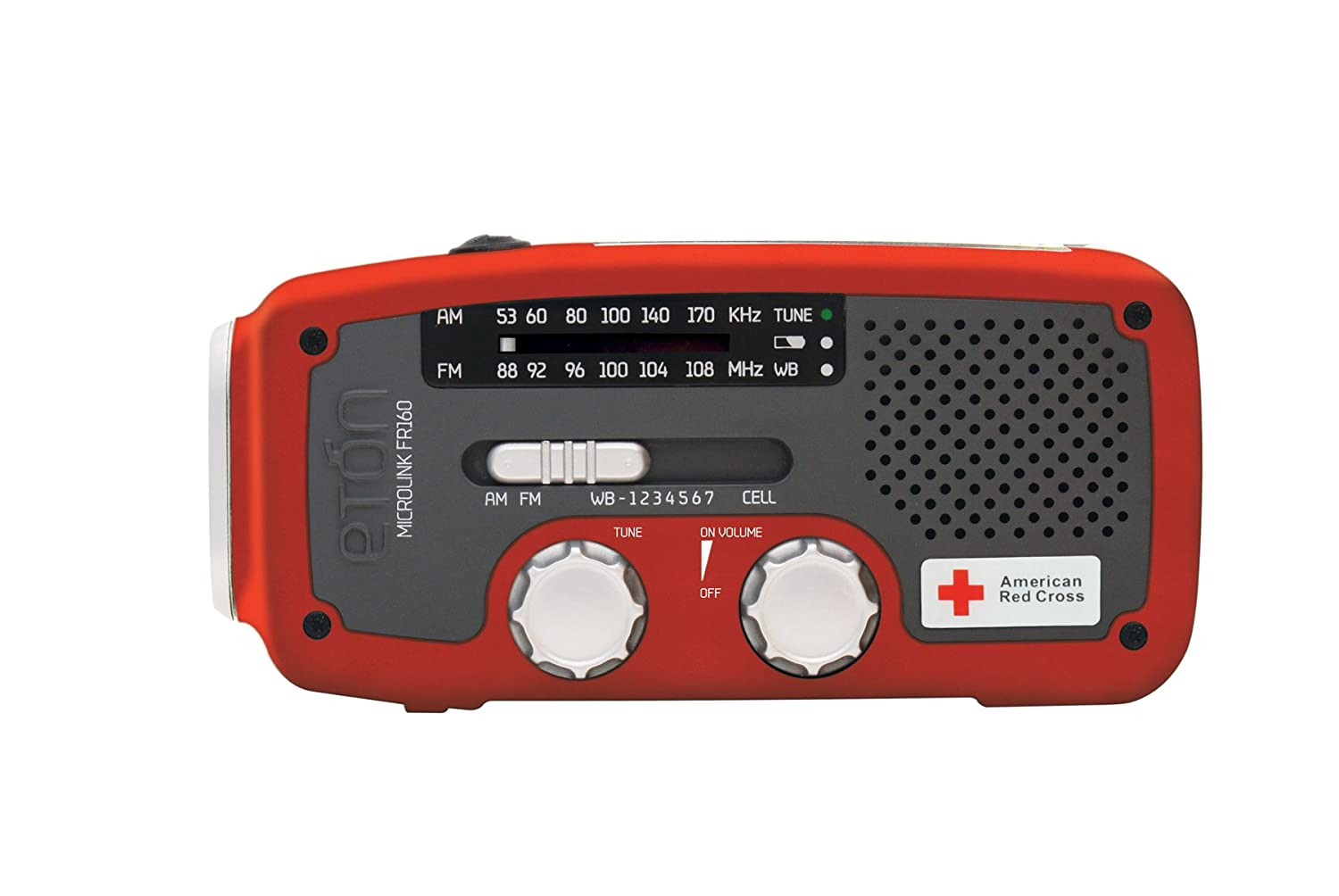Eton American Red Cross FR160 Self-Powered AM/FM/NOAA Weather Radio with Flashlight, Solar Power, and Cell Phone Charger