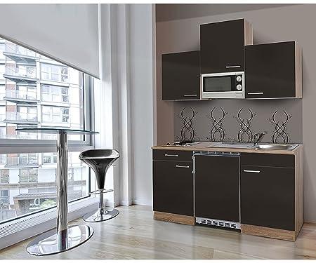 respekta KB 150WWC-Bloque de cocina (150cm, roble), color roble, microondas APL vitrocerámica kb150esgmic
