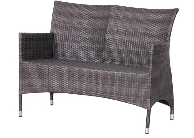 deluxe alu 2er gartenbank in polyrattan geflecht in. Black Bedroom Furniture Sets. Home Design Ideas