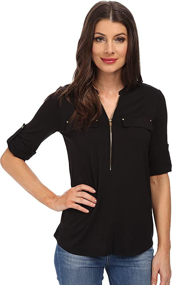 078521d5 Calvin Klein Women's Modern Essential Zip Front Roll Sleeve Blouse, Black,  Small (Color: Black, Tamaño: Small)