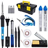 Vastar AC222 Soldering Iron Kit, 16 in 1 60W Welding Soldering Iron Temperature Adjustable with On/Off Switch, Soldering Tips, Desoldering Pump, Soldering Wire, Soldering Station Anti-static Tweezers (Color: Blue)