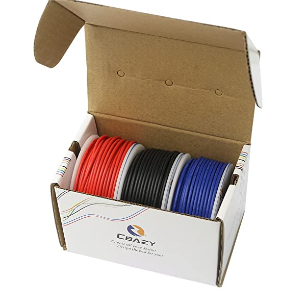 CBAZYTM Hook up Wire (Stranded Wire) 18 Gauge 1007 18AWG 17M (55 Feet) PVC Electrical Wire Red+Blue+Black (Color: B-(Red+Blue+Black), Tamaño: 18AWG)
