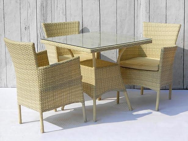 Set Tavolo Quadrato + 4 Poltrone in Alluminio e PVC Beige Disraeli